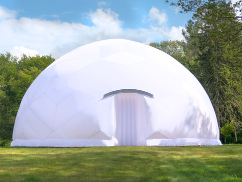 Pneuhaus Lightborne Dome Luminosity Festival  Inflatable Art Inflatable Architecture White Dome Event Architecture Immersive Media Environment Virutal Reality Installation Festival Art City Summer Family Game Room Geodesic Dome Minimal Party Tent Gaming Event Design