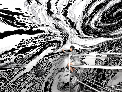 Oscar Oiwa Black & Light Installation Visionaire 2019 Drawing Art Installation Immersive Drawing Inflatable Architecture Pneuhaus Fabrication Immersive Mural 3D drawing installation inflatable dome 27,000 square feet inflatable art experiential art