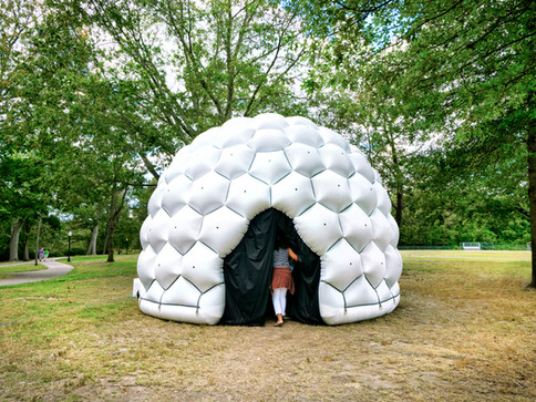 Pneuhaus Compound Camera Inflatable Art Architecture Experimental Event Space Experiental Art Installation Optical Interactive Science based nature inspired art artwork immersive dome geodesic futuristic design camera obscura pinhole camera live projection white dome multiplied view kaleidoscope psychedelic vision inspired light art installation festival art public art exterior dome textile art