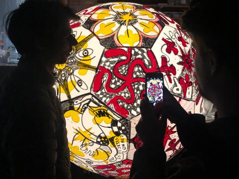 Pneuhaus Inflatable Art Painting Psychedelic Flower Light Art Festival Art Take a Moment Collaboration Collaborative Art Drawing Event Design Red Yellow Black Screenprinting 3d screenprint sculpture Ball Lantern Lamp Toy