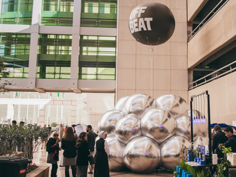 Pneuhaus Offbeat Brand Experience Donut Ice Cream Dome Inflatable Art Temporary Event Architecture Immersive Environment Mirror Dome Bubble Modular Curved Mirror Round Reflection Psychedelic Optical Art  Textile Art Fabric Architecture