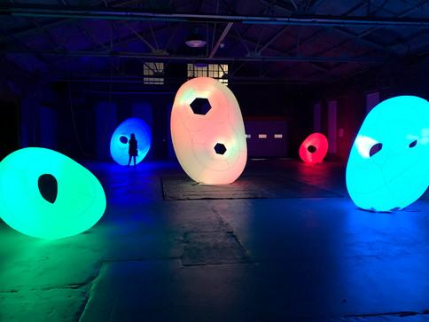 Pneuhaus Cloud Lights Handles Festival Art Public Art Inflatable Art Light Art Textile Sculpture Transformative Public Art Boston PVD Festival Experiential Art City Art Instllation