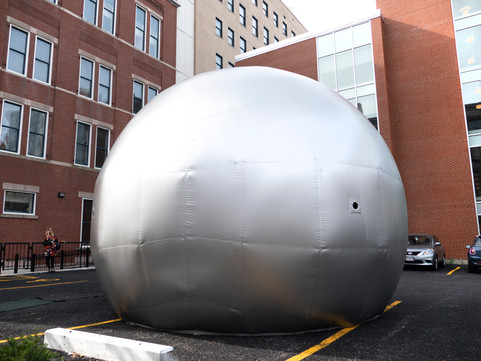 Pneuhaus Camera Obscura Inflatable Architecture Inflatable Art Immersive Experiential Installation Public Art Community SIlver Dome Bubble Room Temporary Event Achitecture Pop Up Building Mobile Science Curiosity Photography Collaboration