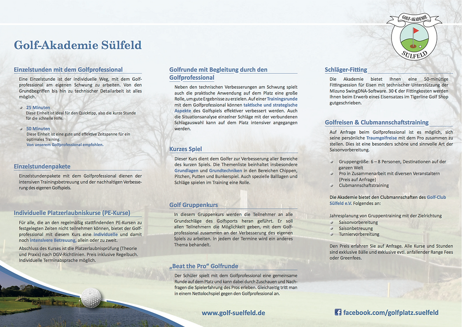 Golf-Akademie Sülfeld Flyer Seite 2