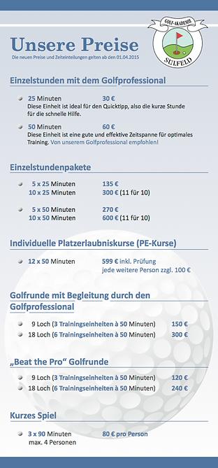 Golf-Akademie Sülfeld Flyer Preise