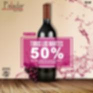 50% en vinos todos los Martes
