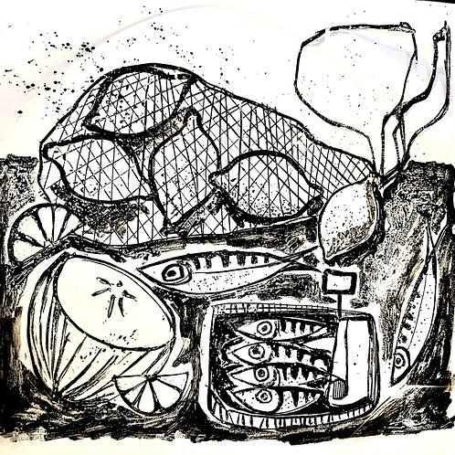 Sardines and Lemons black and white  Silkscreen Print
