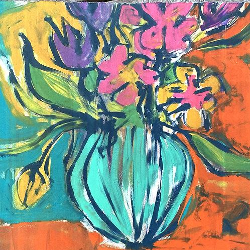 'Bouquet and Blue Vase' Silkscreen Mono Print