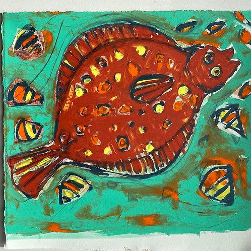 'Fish Dish' Silkscreen Mono print