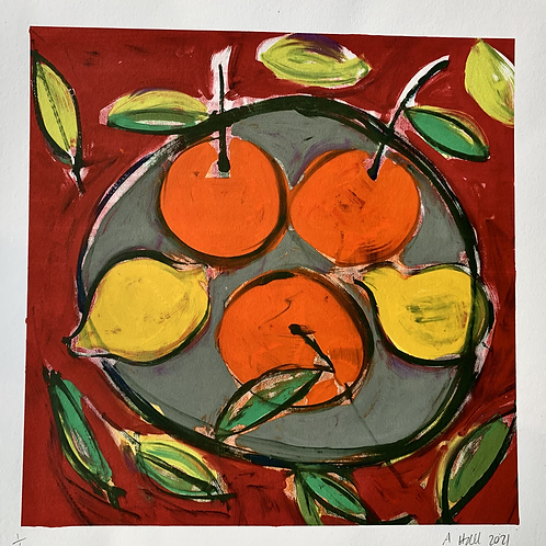 Silkscreen Mono Print 'Spanish Plate'