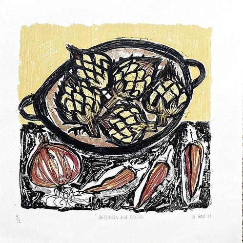 Artichokes and Chillies Silkscreen print
