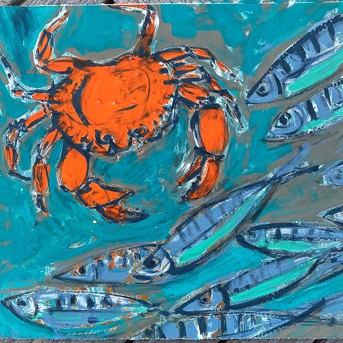 'Crabs and Sardines' Silkscreen Monoprint
