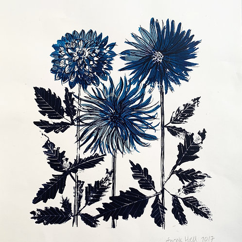 Silkscreen Print 'Three Dahlias'