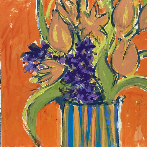 'Hyacinth and Tulips' Silkscreen Mono Print