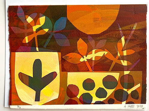 Silkscreen Mono Print - 'Golden Garden'