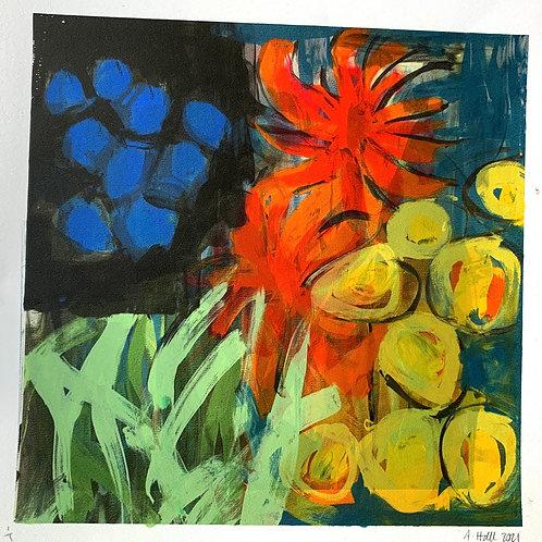 Silkscreen Mono Print 'Cool Colour Splash'