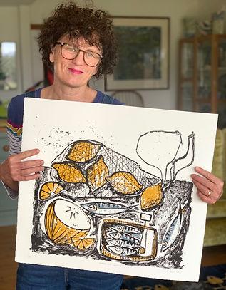Artist Angela hall with silkscreen print Lemons and Sardines