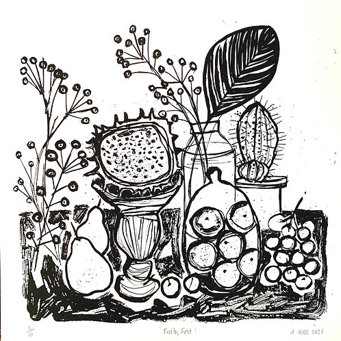Fruity Fest black and white  Silkscreen Print
