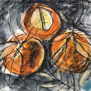 'oranges' Charcoal and paint drawing