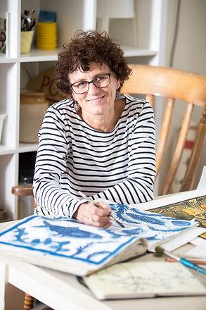 Artist Angela hall in her studio