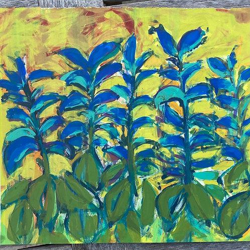 'Blue Bugle' Silkscreen Mono Print