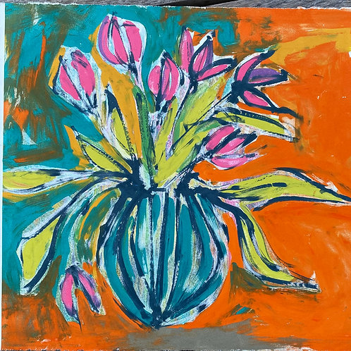 'Tulip and Stripy Vase' - Silkscreen Monoprint