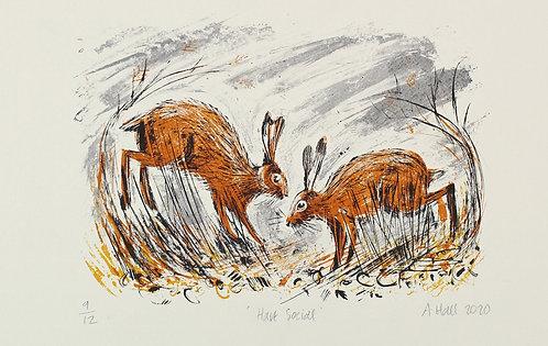 Hare Social- Silkscreen Print, multi coloured, handprinted