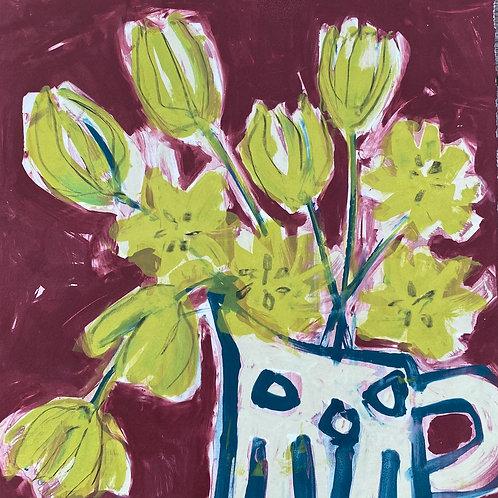 Silkscreen Mono Print - Blue and White Vase with Tulips'