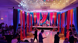 Head table and dance floor decor