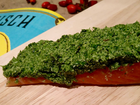Salmon with coriander coconut crust