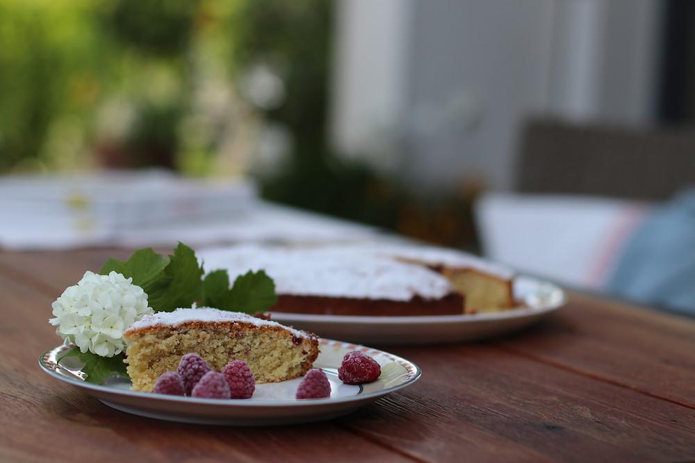Almond, Coconut Raspberry Cake