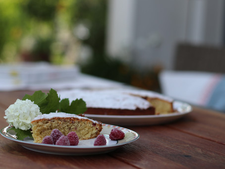 Almond, Coconut Raspberry Cake