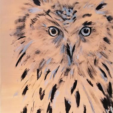 Owl in brown, blue and black original art