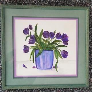 Purple flowers original watercolor painting