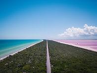 Drone Mexico Pink Salt Lake Las Colorada