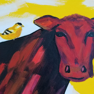 Red cow and bird painting