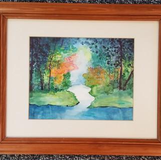 Water and wood original watercolor painting