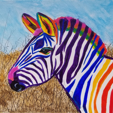 colorful zebra painting