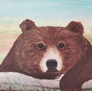 Brown bear original acrylic painting