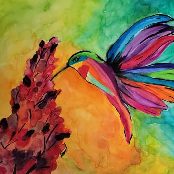 Bright color hummingbird original watercolor painting