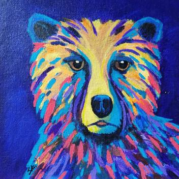 Colorful Bear original acrylic painting