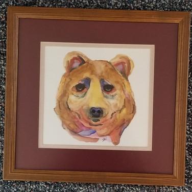 Framed Watercolor bear face