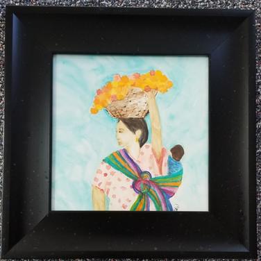 Framed watercolor Mayan woman and baby