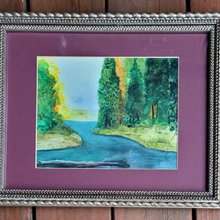 Colorful woods scene framed and matted 16 x 13 inches $125