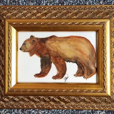 Framed brown bear watercolor