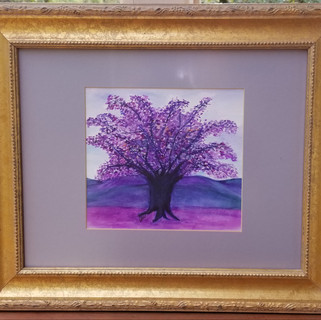 Purple tree original watercolor painting