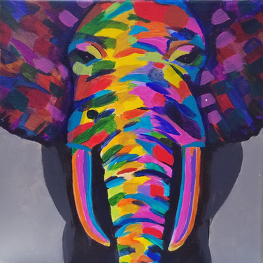 elephant painting - lots of colors