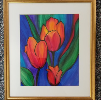 Orange tulips orignal watercolor painting