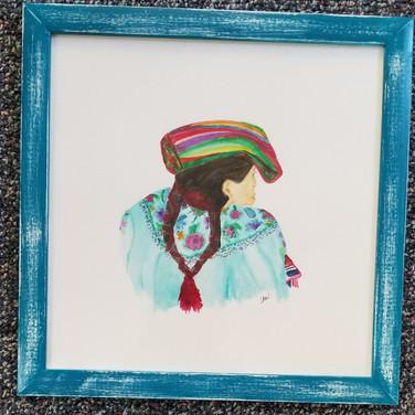 Framed watercolor Mayan woman