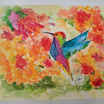 Hummingbird original watercolor painting